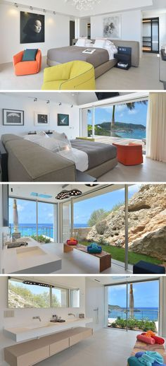 This bedroom has the bed positioned in the center of the room, idea for views out of the floor-to-ceiling windows. In the bathroom, the large windows let in an abundance of natural light and provide views of the water.