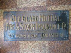 ORIGINAL OLD GUARD MUTUAL INSURANCE SIGN WOOLWORTH BLDG LANCASTER PENNSYLVANIA   ebay