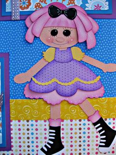 Lalaloopsy Doll  Premade SCRAPBOOK PAGES with paper piecings crafty1mommy