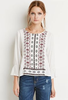 Embroidered Trumpet-Sleeve Boho Blouse