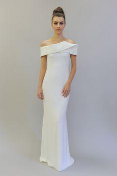 """Simone"" Off-the-Shoulder Gown | Photo: Maria Valentino. View More: http://www.insideweddings.com/news/fashion/flirtatious-playful-looks-from-austin-scarlett-fall-2017/3309/"