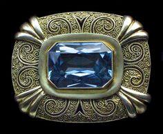 THEODOR FAHRNER            Art Deco Brooch            Gilded silver & synthetic spinel German ca 1930