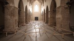 Swiss installation artist Zimoun has unveiled a new site-specific installation based on 150 prepared dc-motors, wood, string wire and hosted inside a beautiful old church in Klangraum Krems, Austria. Sound Installation, Interactive Installation, Artistic Installation, Sound Sculpture, Sculpture Art, French Cathedrals, Sound Art, Kinetic Art, Seesaw