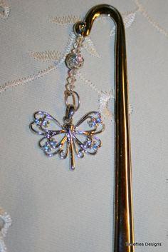 Butterfly Blue Crystal Bookmark with Swarovski Crystals @ timefliestreasures.etsy.com