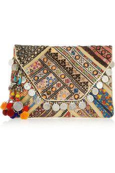 10 Editors' Picks for Winter Antik Batik Banjo Embellished Clutch from Net-a-Porter. Ethno Style, Estilo Hippie, Ethnic Bag, Fashion Accessories, Women Accessories, Look Boho, Boho Bags, Small Handbags, Crochet Trim