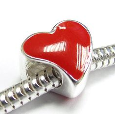 Sterling Silver Large Red Enamel Love Heart Bead Charm For Pandora Chamilia Troll Biagi   Brand:  Queenberry   List Price: $35.99  Buy New: $14.98
