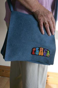 Retro 70's Hippy Denim Handbag Peace by BlossomvioletCrafts