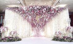 Reception Backdrop : Fleur Contact : 081-809-5459 #white #floral #flower #backdrop #decorations #combination #florist #wedding #ceremony #happy #beautiful #stand #logo #fleur #production #setup #real #hanging #florist #engagement #reception #wedding #bridal #groom #weddingreception