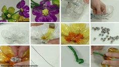 Garrafas PET reutilizadas... como resultado, flores coloridas