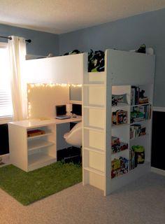 "Quentin - Son lit mezzanine - Jackson's ""new"" room - bed is Stuva loft bed/desk combo from Ikea Stuva Loft Bed, Loft Bed Desk, Mezzanine Bed, Ikea Stuva Bed, Loft Bed Ikea, Girl Room, Girls Bedroom, Bedroom Decor, Bedrooms"