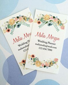 Personalized Floral Business Cards Calling Cards  by PikakePress, $22.00