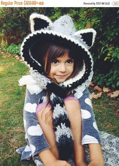 25% Off End of Summer Raccoon Hat Hood Cowl Scarf Knit Toddler Child Adult…