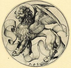 Today is the feast of St Mark the Evangelist. Here's his symbol of a lion by Martin Schongauer