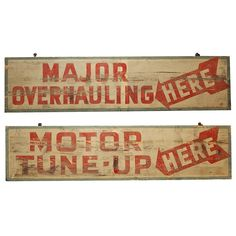 Pair of Early Auto Mechanic Shop Signs