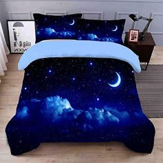 Galaxy Bedding Sets Luxury Soft Stylish Home Decor Bedding 4 Piece Blue Duvet Cover with 2 Pillow Shams and 1 Sheet Full Cool Kids Bedrooms, Awesome Bedrooms, Beautiful Bedrooms, Cute Bedroom Decor, Home Decor Bedding, Blue Duvet, Black Bedding, Galaxy Bedding, Marble Duvet Cover