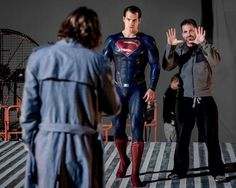 Fierce look on Cavill's face while Zack is directing this scene...lol!! :)