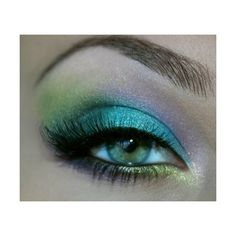teal, lime, aqua and lilac mermaid eye make up #makeup #eyes... ❤ liked on Polyvore featuring beauty products, makeup, eye makeup, eyeshadow, eyes and beauty