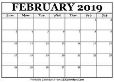 2019-2016 Printable Calendar 81 Best Blank February 2019 Calendar Template images | Monthly