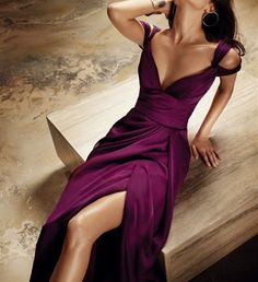 Grape Prom Dresses,Slit Prom Dress,SplitFormal Gown,Straps Prom Dresses,Slit Evening Gowns,Satin Formal Gown,Simple Prom Gowns For Teens