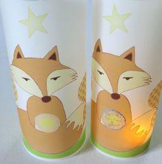 **transparente Lichthülle Fuchs, für Teelicht oder LED - DEINE Botschaften frei rubbeln** 3 Rubbelfelder (3cm) 1 x im Fuchs, und jeweils in der Blüte.  Dort mit Kuli, Folienschreiber oder Edding...