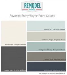 Best Versatile Entryway and Foyer Paint Colors Hi Remodelaholics, it's Cyndy from The Creativity Exchange back with this month's paint color palette.For this month's palette, I thought I would share