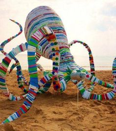 "This giant octopus – 4 meters around – is called ' 20,00 Bags Under The Sea  "" and was made by the Australian artist Jacq Chorlton in 2010.    The octopus is made entirely of woven recycled plastic bags."