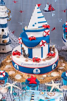 Nautical cake too cute! Ocean Cakes, Beach Cakes, Fancy Cakes, Cute Cakes, Nautical Cake, Nautical Party, Gateaux Cake, Cakes For Boys, Boy Cakes