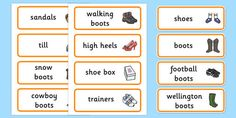 A set of word cards covering the main vocabulary for this role play area. Also available in cursive and precursive. Role Play Areas, Wellington Boot, Football Boots, Cursive, Shoe Shop, Vocabulary, Learning, Words, My Style