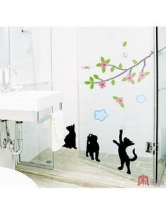 "Home Decor Mural Art Wall Paper Stickers - Playing cats KRS-0104 by Victoria's deco. $21.97. Without much effort and cost you can decorate and style your home.. Install Area : The decals can be applied on all smooth surfaces,. No paint, No tools, No sticky paste necessary~!! Just Peel and Stick~!!. Sheet size:13""x24"". materials? Salinization PVC resin. Do you want to create an new look in your home with this simply stick it Decor! These are made with high quality vinyl and will l..."