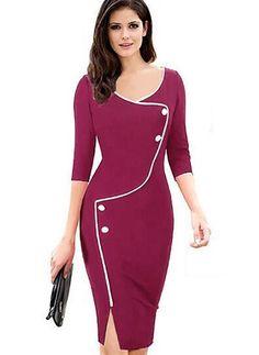Polyester Solide Lange Ärmel Knielang Elegant Kleider (1029483) @ floryday.com