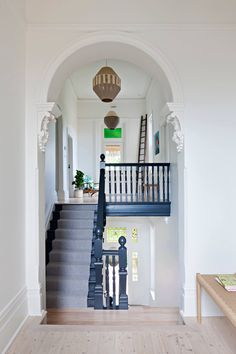Designed by the talented Clare Cousins, this Victorian mansionette at 23 The Grove Coburg combines heritage elegance with modern sophistication. Staircase Railings, Staircase Design, Stairways, Staircase Remodel, Modern Victorian, Victorian Homes, Beautiful Interiors, Colorful Interiors, Victorian Terrace House