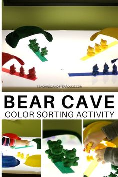 Work on preschool color recognition skills with this fun bear cave activity. Can be done on the light table or a regular table. A great addition to your winter hibernation theme! Bear Theme Preschool, Preschool Colors, Preschool At Home, Preschool Crafts, Fall Preschool, Sorting Activities, Color Activities, Winter Activities, Kindergarten Activities