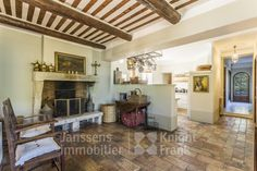Mas with pool for sale in Oppede, Janssens Immobilier Provence Real Estate Agency, Real Estate Marketing, Provence, Living Room With Fireplace, Open Plan Kitchen, Stunning View, Wine Cellar, Property For Sale, Terrace