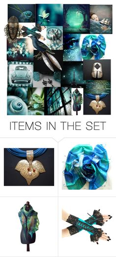 """""""Teal Mint Collage"""" by anna-recycle ❤ liked on Polyvore featuring art, jewelry, homedecor and annarecycle"""