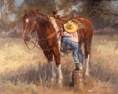 I NEED this painting! I used to turn buckets and feeders and stumps into mounting blocks. Reminds me so much of myself