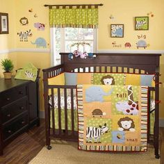 $108.50-$199.99 Baby Cocalo Jungle Talk Four Piece Crib SetA fun and playful Jungle theme is brought to life through adorable safari animals featured on the light weight quilt and accessories. A nice mix of checks, dots, stripes and plaids is brought together by the vibrant color story of green, blue, yellow, orange and brown with accents of red.