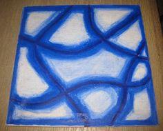 Canvasdoek met oliepastelkrijt getekend bewerkt met olie