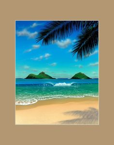 Paradise Matted Print by Hawaii Artist Thomas Deir Hawaii art prints from a painting of tropical beach scene on Oahu. Matted fine art print is signed by Hawaii artist Thomas Deir. Hawaii Painting, Beach Scene Painting, Beach Paintings, Watercolor Paintings, Landscape Design Plans, Tile Murals, Tropical Landscaping, Beach Scenes, Ocean Scenes