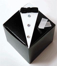 "Wedding Favor Boxes THE GROOM - Tuxedo 2-1-/2"" (12 boxes/ pkg)"