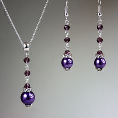 Purple Crystals Pearls Necklace Earrings Wedding Bridesmaid Silver Jewellery Set - Inspirational Tattoos - Garden Landscaping - DIY Bathroom Decor - Different Hair Styles - DIY Silver Necklace Swarovski Jewelry, Beaded Jewelry, Silver Jewelry, Silver Ring, Swarovski Swan, Gold Jewellery, Jewlery, Swarovski Crystals, Beaded Necklace