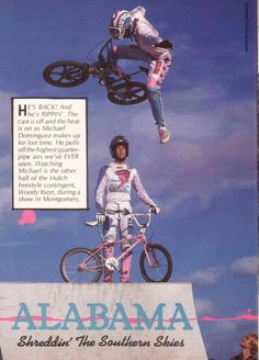 Mike Dominquez soars over Woody Itson on a quarterpipe in Montgomery, AL (1986)