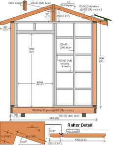 shed plans, cross-section and rafter detail