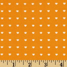 Moda Bump To Baby Ditzy Hearts Orange from @fabricdotcom  Designed by Gina Martin for Moda, this fabric is perfect for quilting, apparel and home decor accents. Colors include orange and white.