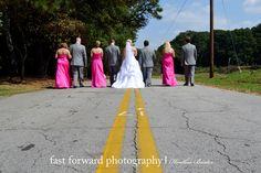 wedding photography, fun wedding party pose, pink bridesmaid dresses, #great wedding poses, outdoor wedding photography