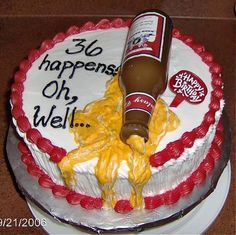 Beer Spill My husband could not wait for me to post this.This is his birthday cake and everyone loved the concept of a beer spill on. Birthday Cakes For Women, Birthday Desserts, Birthday Cupcakes, 36th Birthday, Birthday Ideas, Birthday Beer, Hubby Birthday, Birthday Quotes, Budweiser Cake
