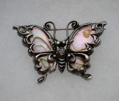 Gorgeous-Antique-Solid-Sterling-Silver-925-Abalone-Butterfly-Brooch-Pin-8-6-gr