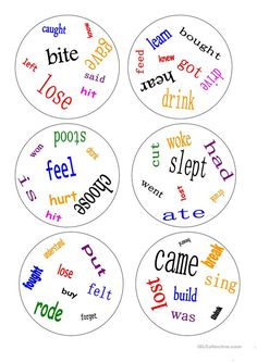 Dobble - irregular verbs - a game worksheet - Free ESL printable worksheets made by teachers