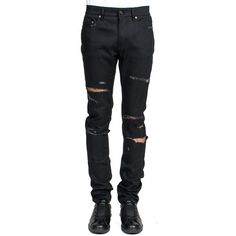 Saint Laurent 'Ripped' Jeans (2.250 BRL) ❤ liked on Polyvore featuring men's fashion, men's clothing, men's jeans, nero, mens destroyed jeans, mens torn jeans, mens ripped jeans, mens distressed jeans and mens distressed skinny jeans