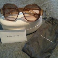 Balenciaga octagon sunglasses Gorgeous oversized octagon shaped Balenciaga Paris sunglasses worn once new condition comes with case, dust bag, cloth, & authenticity card purchased at Neiman Marcus. Balenciaga Accessories Sunglasses