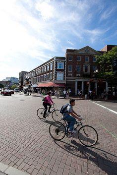 biking through Harvard Square